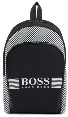 Zippered backpack in structured nylon with printed stripes