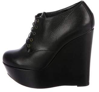Dolce & Gabbana Leather Wedge Booties