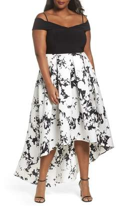 Marina Off the Shoulder Print High/Low Gown