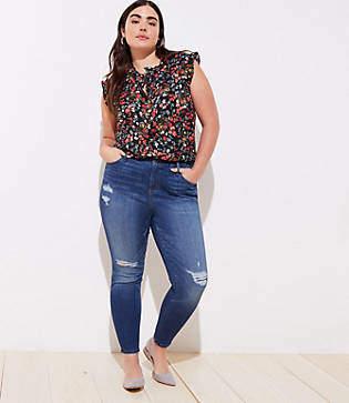 LOFT Plus Modern Distressed High Waist Skinny Jeans in Mid Indigo Wash