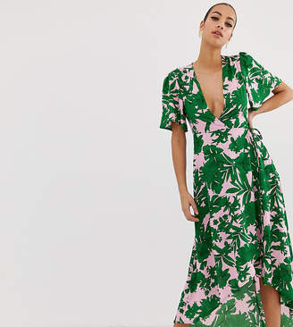 58cc89b8576 Missguided plunge wrap front midi dress in green tropical palm print