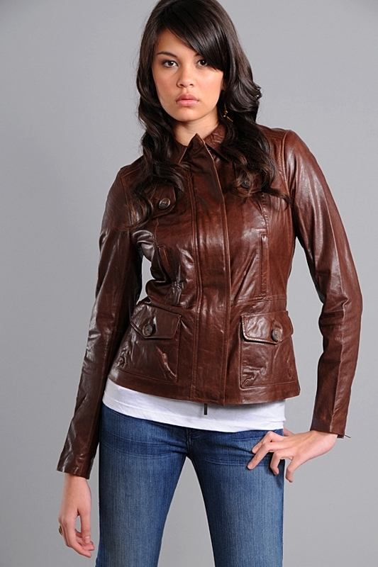 Vince Leather Jacket in Brown