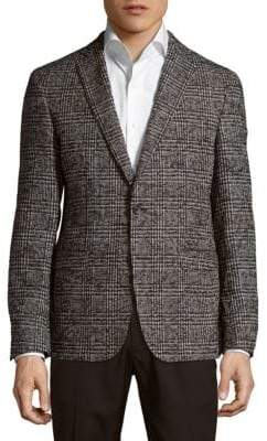 HUGO BOSS Weave Pattern Notch-Lapel Jacket
