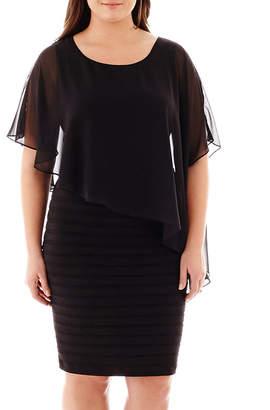 JCPenney Scarlett Elbow-Sleeve Cape Dress - Plus