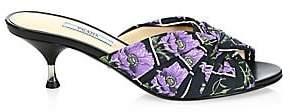 Prada Women's Kitten Heel Leather Ribbon Mules