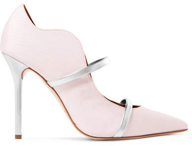 Malone Souliers - Maureen Metallic Leather-trimmed Moire Pumps - Pastel pink