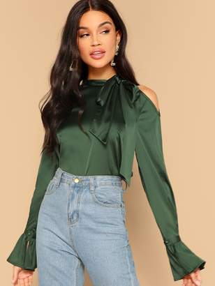 Shein Tie Neck One Cold Shoulder Top