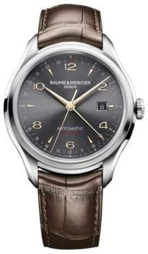 Baume & Mercier Baume& Mercier Baume& Mercier Men's Clifton 10111 Dual Time Stainless Steel& Alligator Strap Watch - Silver Brown