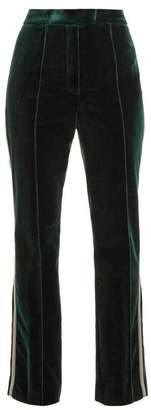 Mary Katrantzou Deosh High Rise Straight Leg Velvet Trousers - Womens - Dark Green