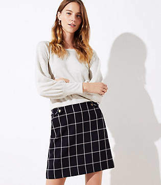 LOFT Tall Plaid Button Tab Pocket Skirt