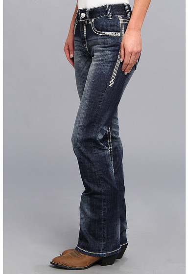 Rock and Roll Cowgirl Mid Rise Boot Cut in Dark Vintage