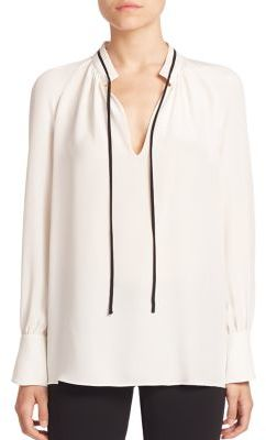 Derek Lam Long-Sleeve Tie-Neck Silk Blouse $650 thestylecure.com