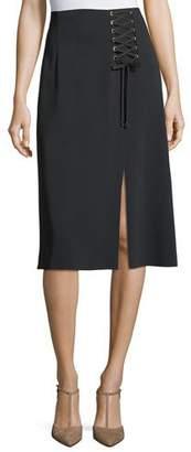 Escada Lace-Up A-Line Midi Skirt