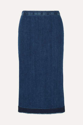 McQ Frayed Denim Midi Skirt - Mid denim