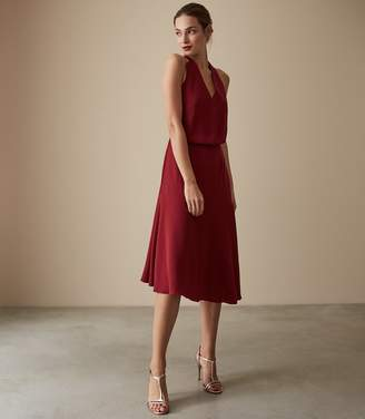 Reiss Our last order date for Christmas has now passed FIONA BEADED STRAPPY MIDI DRESS Redcurrant