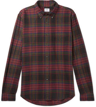 Aspesi Button-Down Collar Checked Cotton-Flannel Shirt