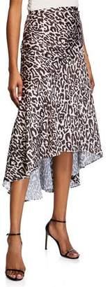 Shona Joy Isabella Leopard-Print Midi Skirt