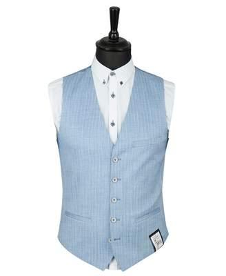 Remus Uomo Pinstriped Waistcoat Colour: BLUE, Size: 38