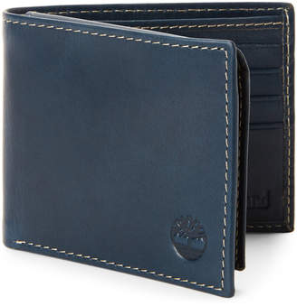 Timberland Navy Leather Passcase Wallet
