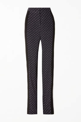 Stella McCartney Printed Silk Crepe De Chine Straight-leg Pants - Navy