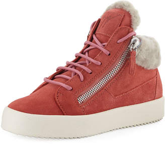 Giuseppe Zanotti Lace-Up Leather High-Top Sneakers with Shearling