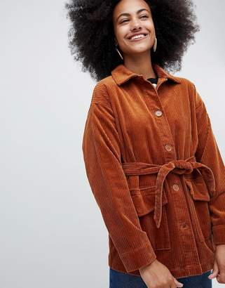 Monki belted cord jacket in rust