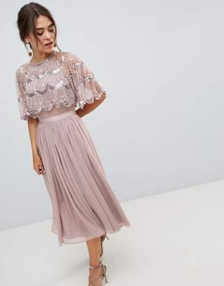 Asos Design DESIGN Scallop Hem Embellished Crop Top Midi Dress