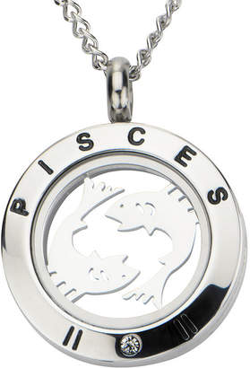 JCPenney FINE JEWELRY Pisces Zodiac Cubic Zirconia Stainless Steel Locket Pendant Necklace