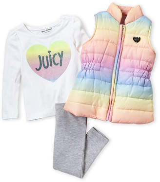 Juicy Couture Toddler Girls) 3-Piece Rainbow Puffer Vest and Pants Set