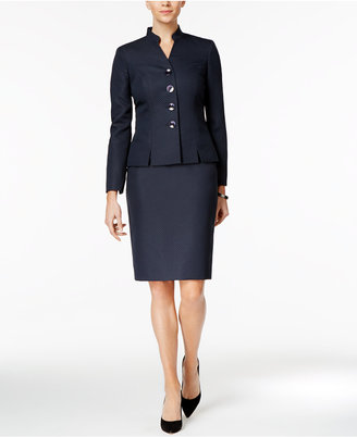 Le Suit Textured Four-Button Skirt Suit $200 thestylecure.com