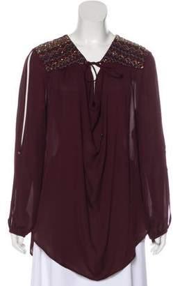 Haute Hippie Long Sleeve Embellished Top