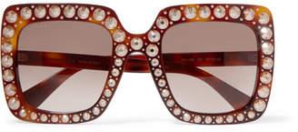 Gucci Embellished Square-frame Tortoiseshell Acetate Sunglasses