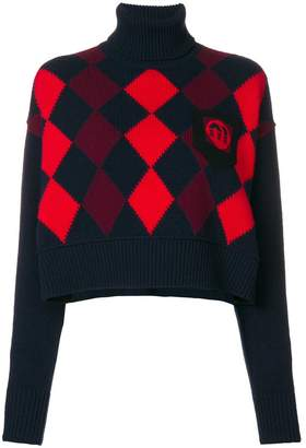 Miu Miu cropped Argyle jumper
