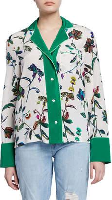 Derek Lam 10 Crosby Floral-Print Button-Front Long-Sleeve Silk Pajama Shirt