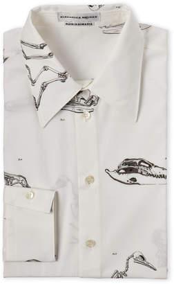 Alexander McQueen White Skeleton Print Dress Shirt
