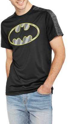 Super Heroes & Villains DC Comics Men's Batman Reflective Logo Poly Mesh T-shirt