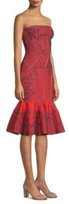Herve Leger Strapless Jacquard Flounce Cocktail Dress