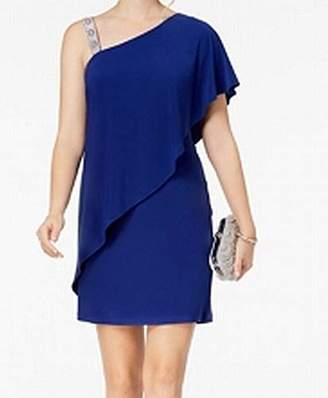 MSK Women's Overlay Cocktail Dress with ONE Shoulder Trim