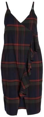 BP Plaid Ruffle Surplice Dress