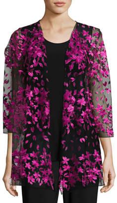 Caroline Rose Floral Notes Draped Jacket, Azalea