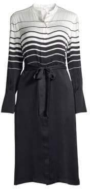 Equipment Women's Roseabelle Stripe& Solid Tie-Waist Silk-Blend Shirtdress - Nature White Eclipse - Size Large