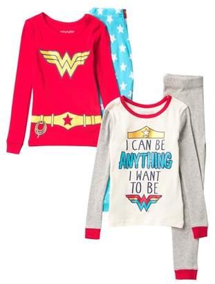 Komar Wonder Woman 4-Piece Cotton Pajamas (Toddler Girls)
