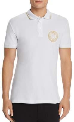 Versace Metallic Coin-Logo Regular Fit Polo Shirt