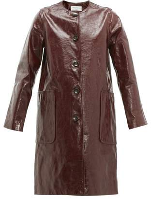 Officine Generale Estelle Patent Leather Overcoat - Womens - Burgundy