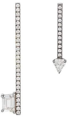 Eva Fehren Women's Diamond Mismatched Bar Earrings - Silver