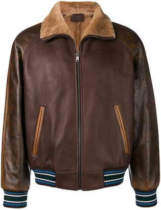 Prada stripe trim flight jacket