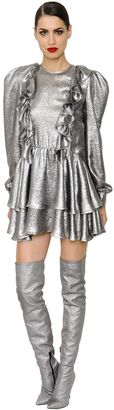 Puffed Shoulder Ruffled Lurex Mini Dress $1,550 thestylecure.com