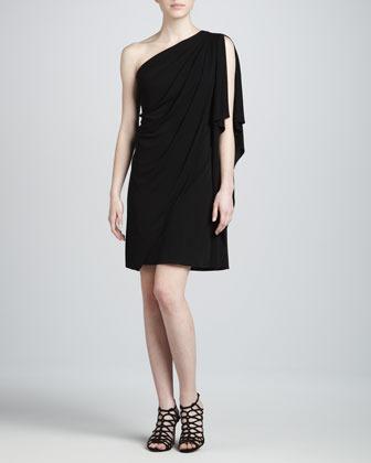 Badgley Mischka One-Shoulder Cocktail Dress, Black