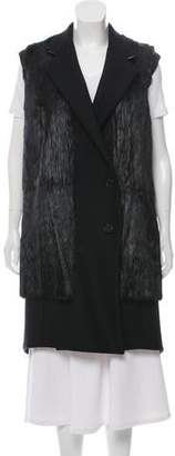 Derek Lam Knee-Length Fur-Paneled Vest w/ Tags