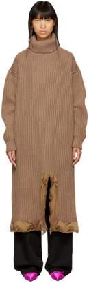 Balenciaga Brown Turtleneck Dress